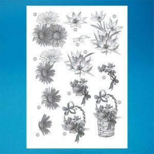 Craft UK A4 Die Cut Decoupage Sheet Line 120 Sepia Flowers